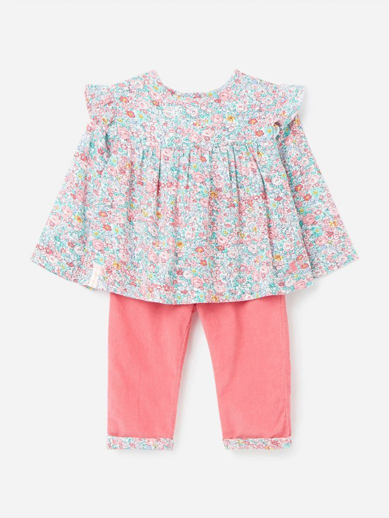 Joules White Ditsy Sophia Woven Top and Cord Trouser Set