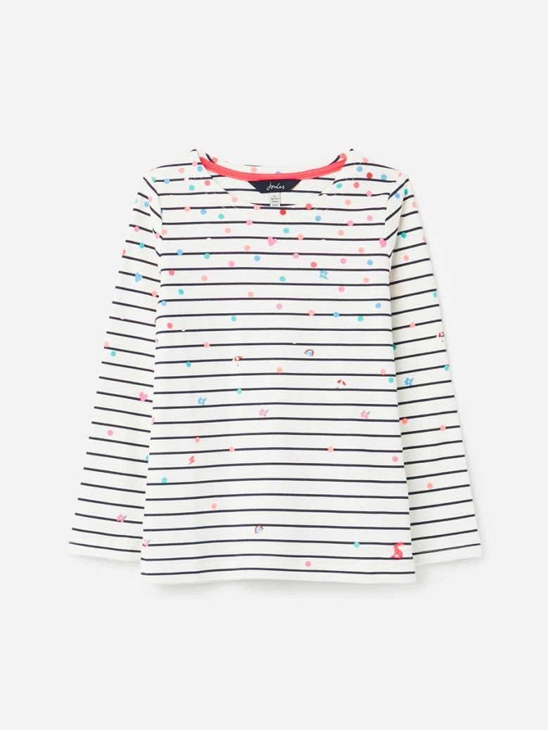 Joules White Confetti Harbour Printed Long Sleeve Jersey Top