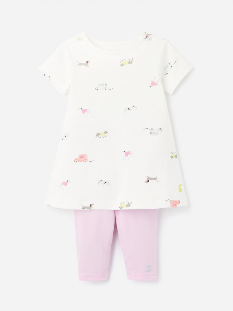 Joules White Dogs Christina Organically Grown Cotton Dress and Leggings Set