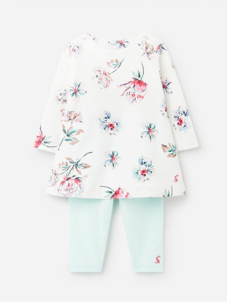 Joules White Flowers Christina Organically Grown Dress and Leggings Set