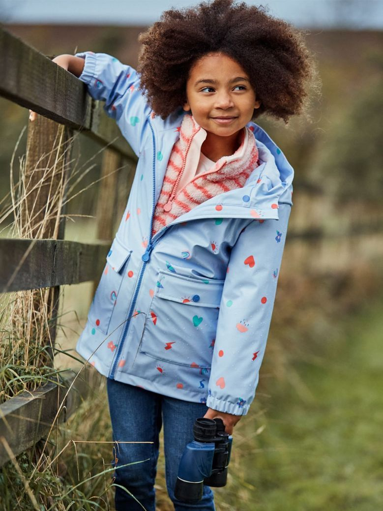 Joules Blue Confetti Raindance Showerproof Printed Rubber Coat