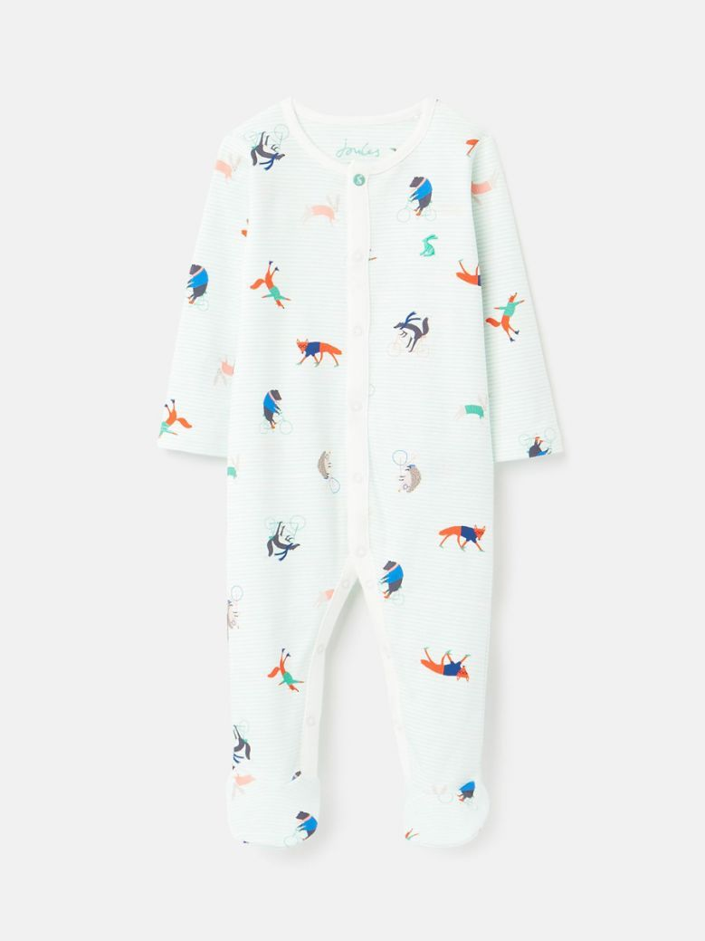 Joules Green Animal Ziggy Organically Grown Cotton Printed Sleepsuit