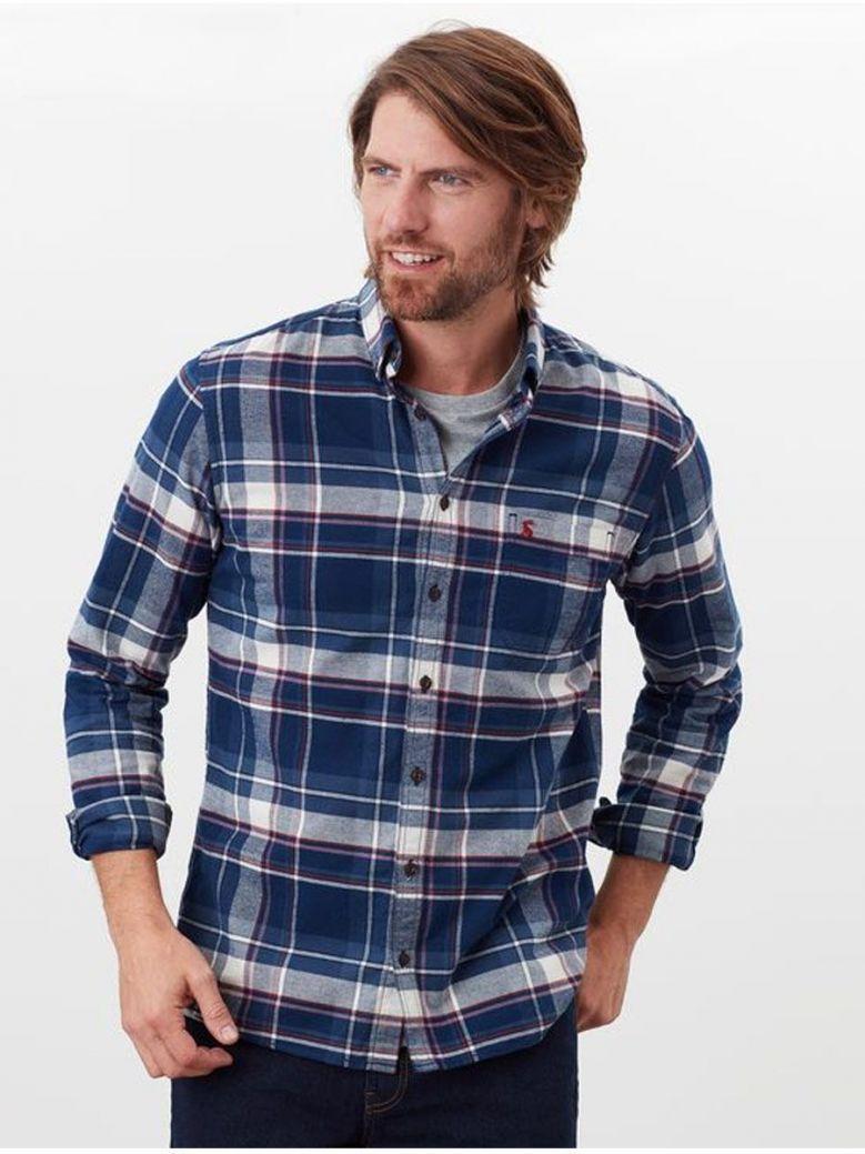 Joules Blue/Orange Check Buchannan L/S Shirt