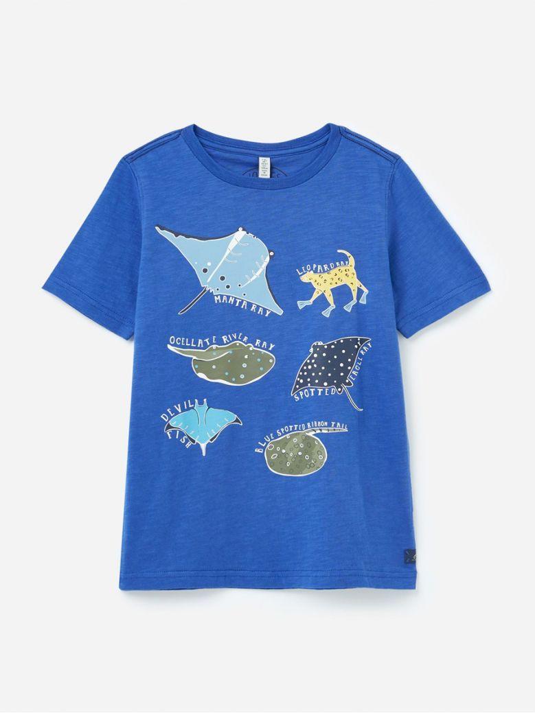 Joules Kids Blue Fish Ray Glow In The Dark Screenprint T-Shirt