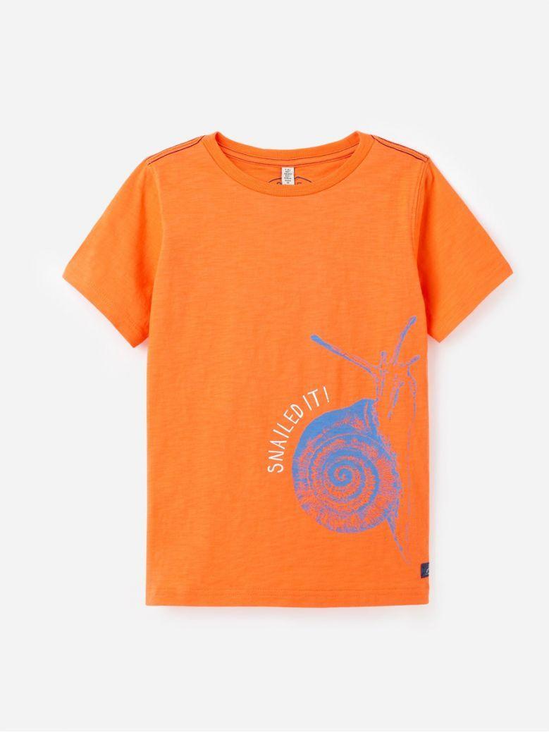 Joules Kids Orange Snail Ray Glow In The Dark Screenprint T-Shirt