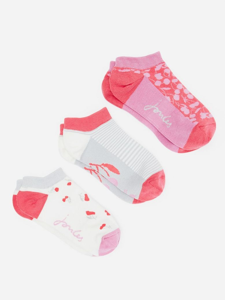 Joules Ladies Pink Cherry Rilla 3 Pack Trainer Socks