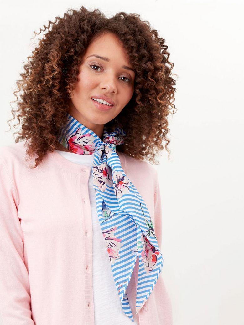 Joules Ladies Cream Floral Stripes Jenny Slim Neckerchief