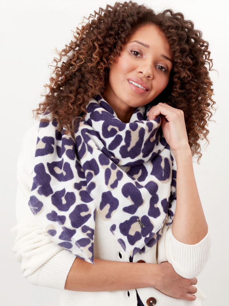 Joules Ladies Cream Maxi Leopard Willow Soft Handle Scarf