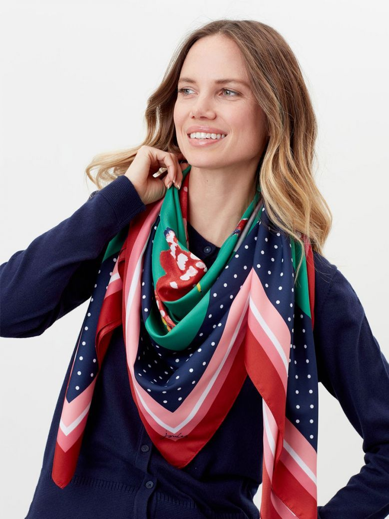Joules Ladies Navy Chickens Agatha Large Square Scarf