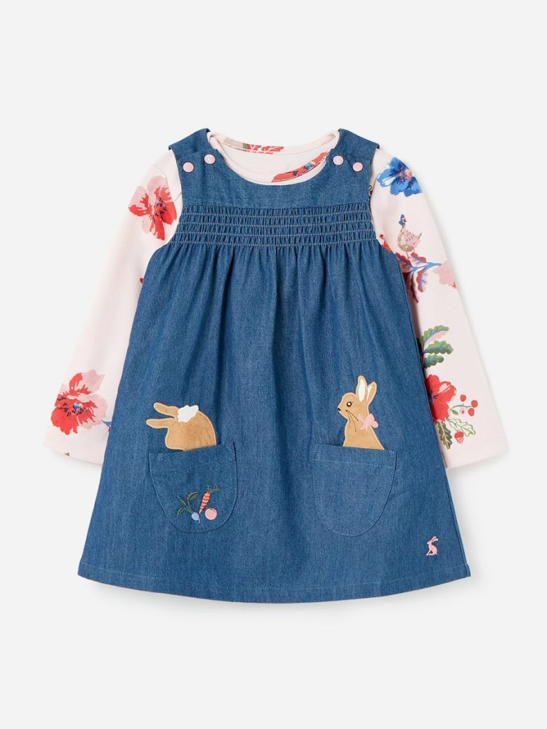 Joules Kids Denim Peter Rabbit Avie Pinafore Dress Set