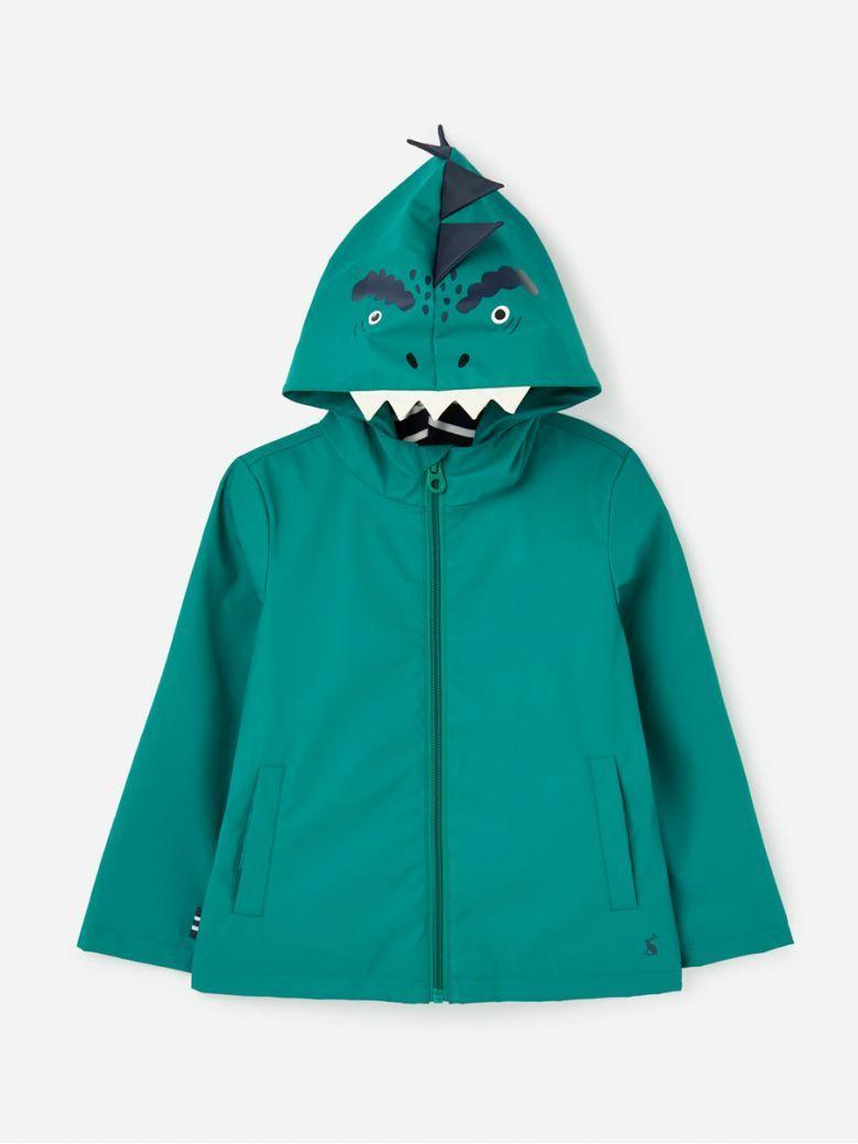 Joules Kids Green Dino Riverside Character Showerproof Rubber Coat