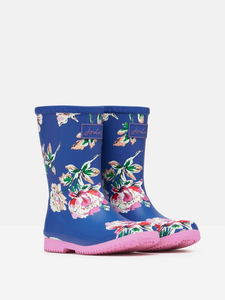 Joules Kids Blue Floral Roll Up Flexible Printed Wellies