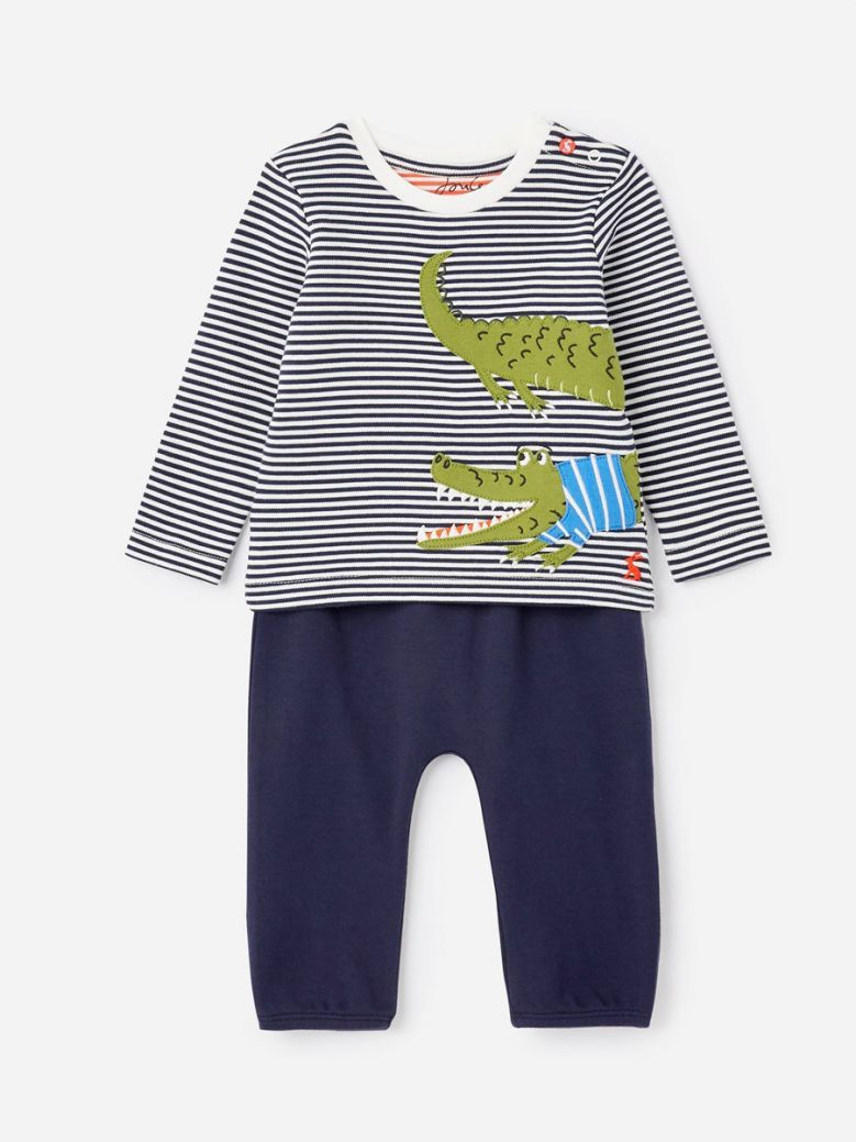 Joules Kids Navy Stripe Croc Julian Jersey Applique Set