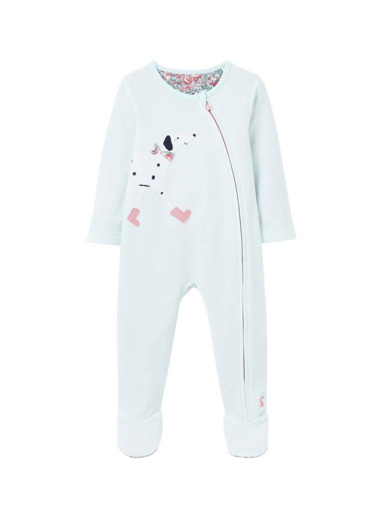 Joules Kids Aqua Zippy Dalmatian Babygrow