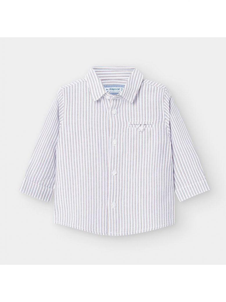 Mayoral Kids Burgundy Long Sleeved Vertical Stripes Shirt