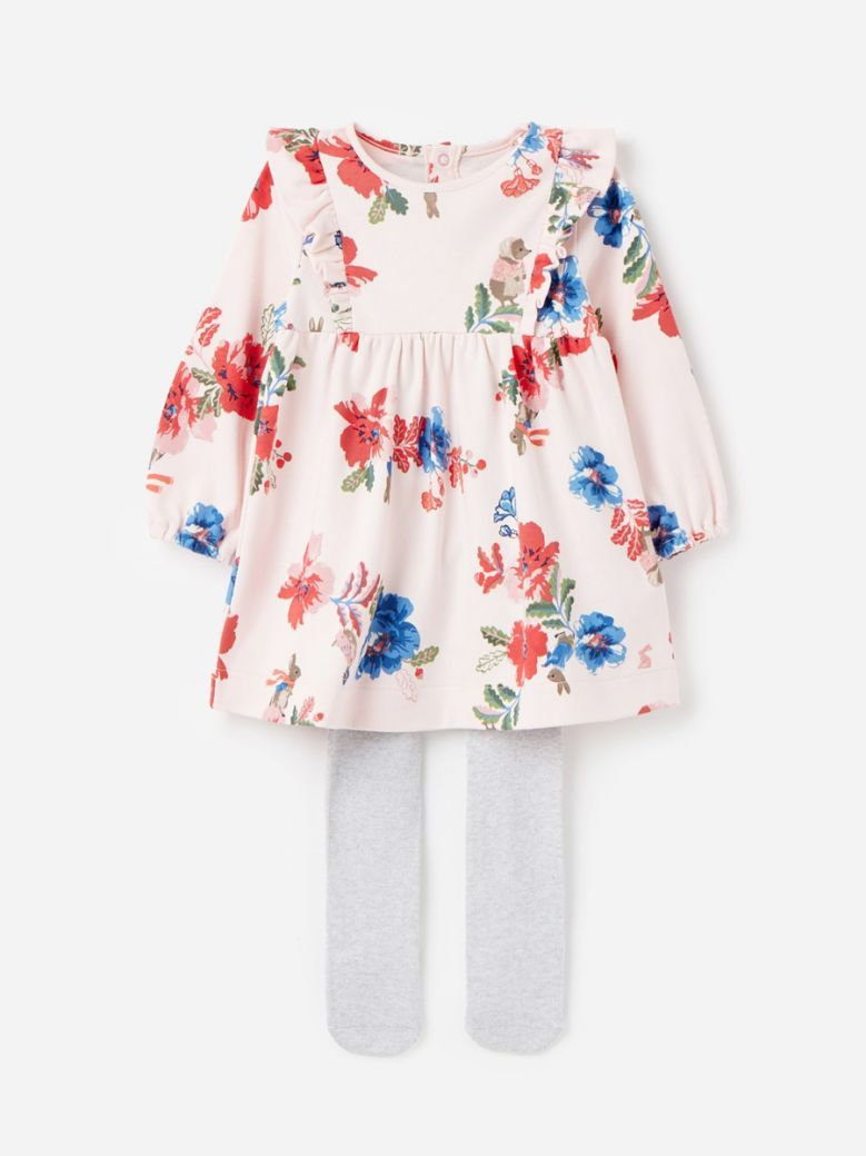 Joules Pink Peter Floral Peter Rabbit Harleigh Dress and Tight Set 0-24 Months