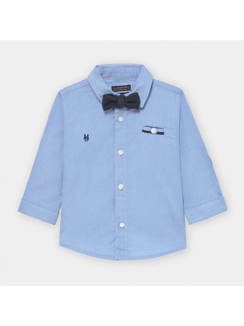 Mayoral Kids Sky Blue Long Sleeved Shirt with Bow-Tie