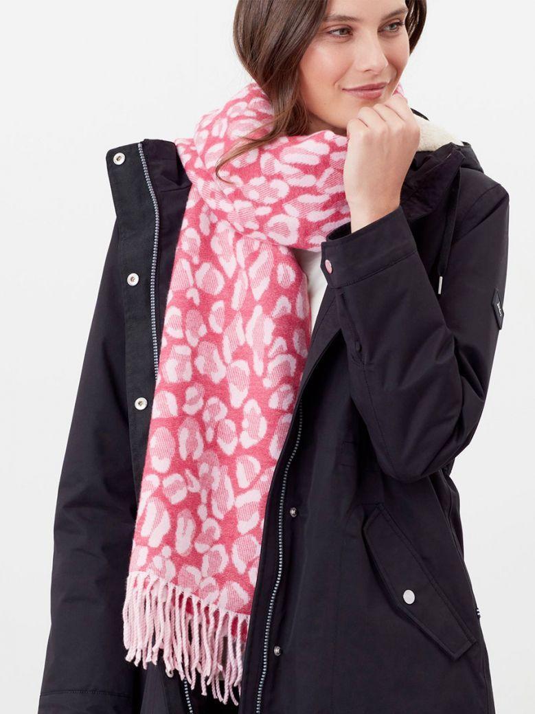 Joules Ladies Pink Leopard Elissa Jacquard Scarf