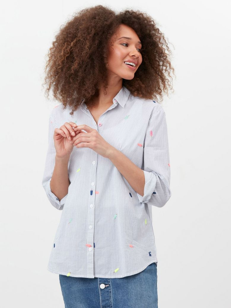Joules Multi Stripe Lollies Cornelia Casual Cotton Shirt