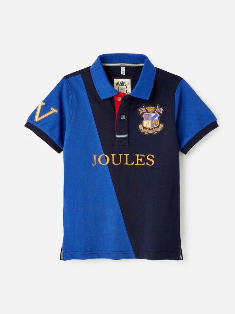 Joules Kids Blue Navy Harry Cut & Sew Polo Shirt