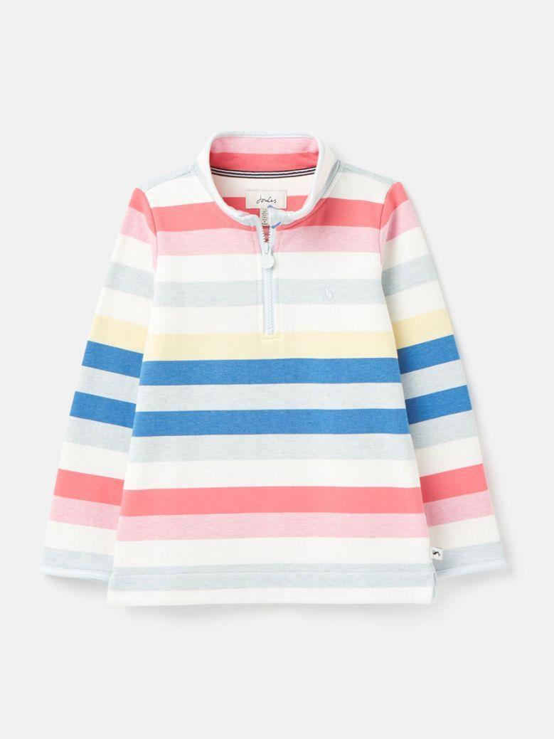 Joules Kids Pink Multi Stripe Fairdale Printed Half Zip Sweatshirt