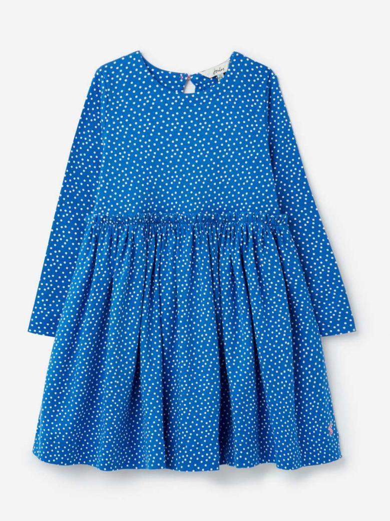 Joules Blue Spot Hampton Paperbag Waist Dress