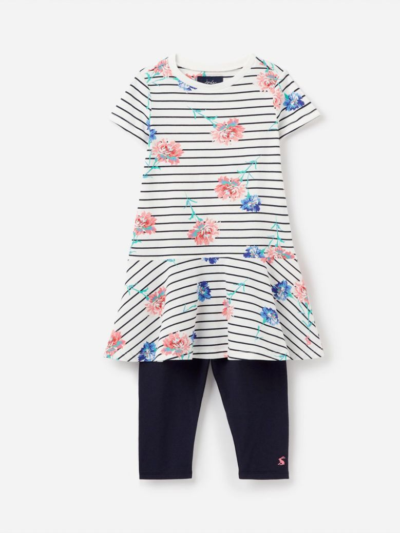 Joules White Stripe Floral Iona Short Sleeve Dress