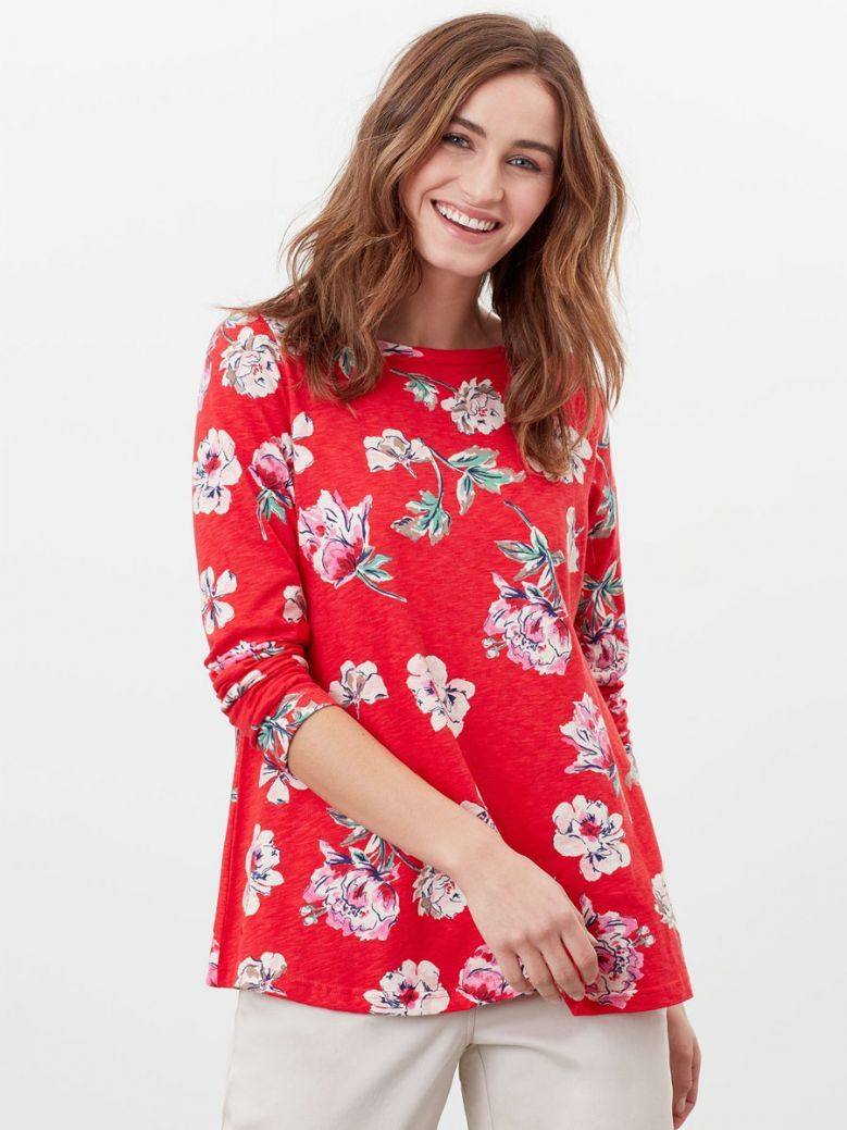 Joules Ladies Red Floral Harbour Light Swing Long Sleeve Jersey Top