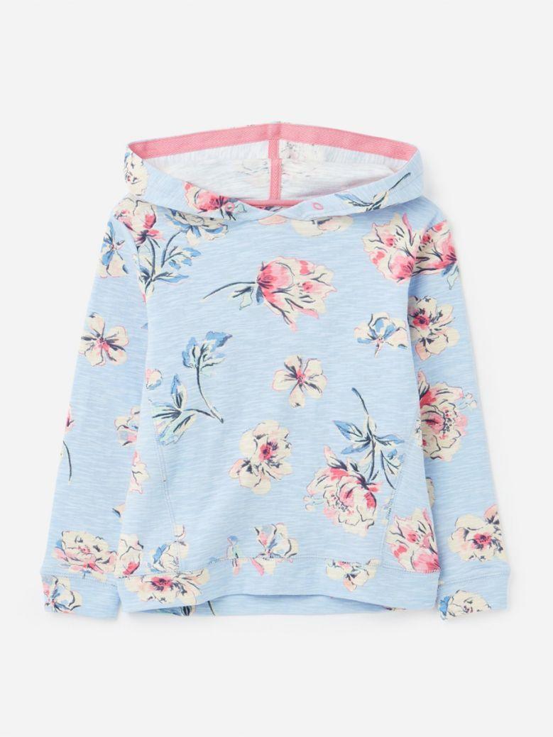 Joules Kids Blue Floral Marlston Hooded Sweatshirt