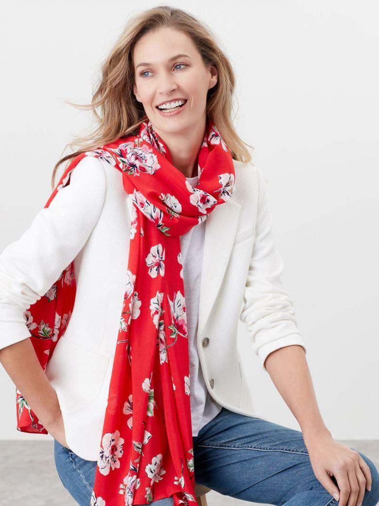 Joules Ladies Red Floral Conway Printed Scarf