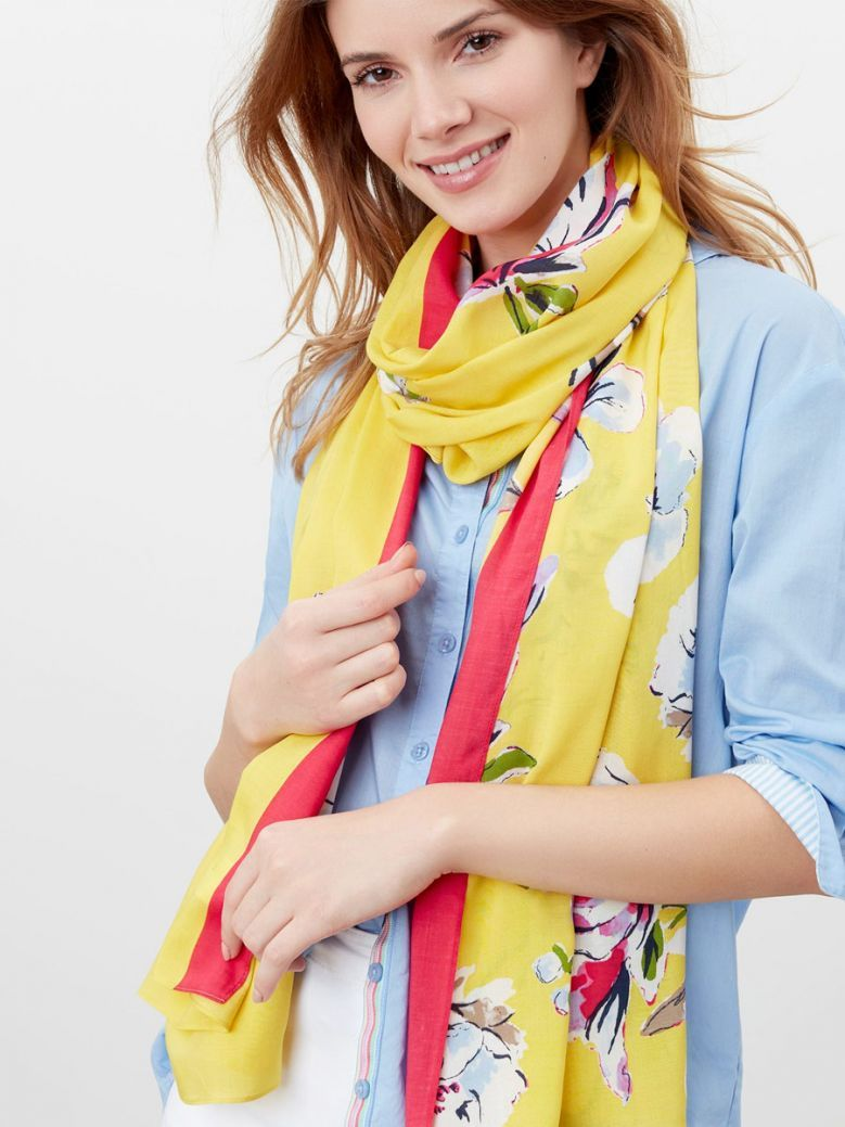 Joules Ladies Yellow Floral Conway Printed Scarf