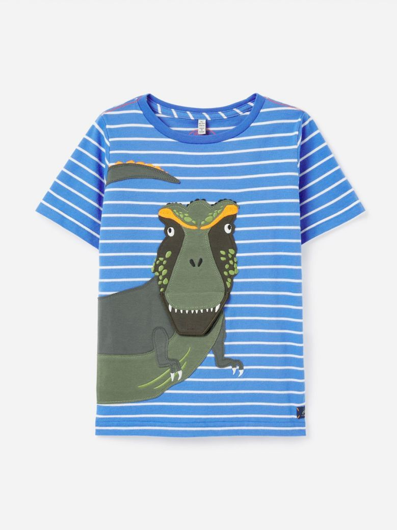 Joules Blue Dino Chomp Applique T-Shirt
