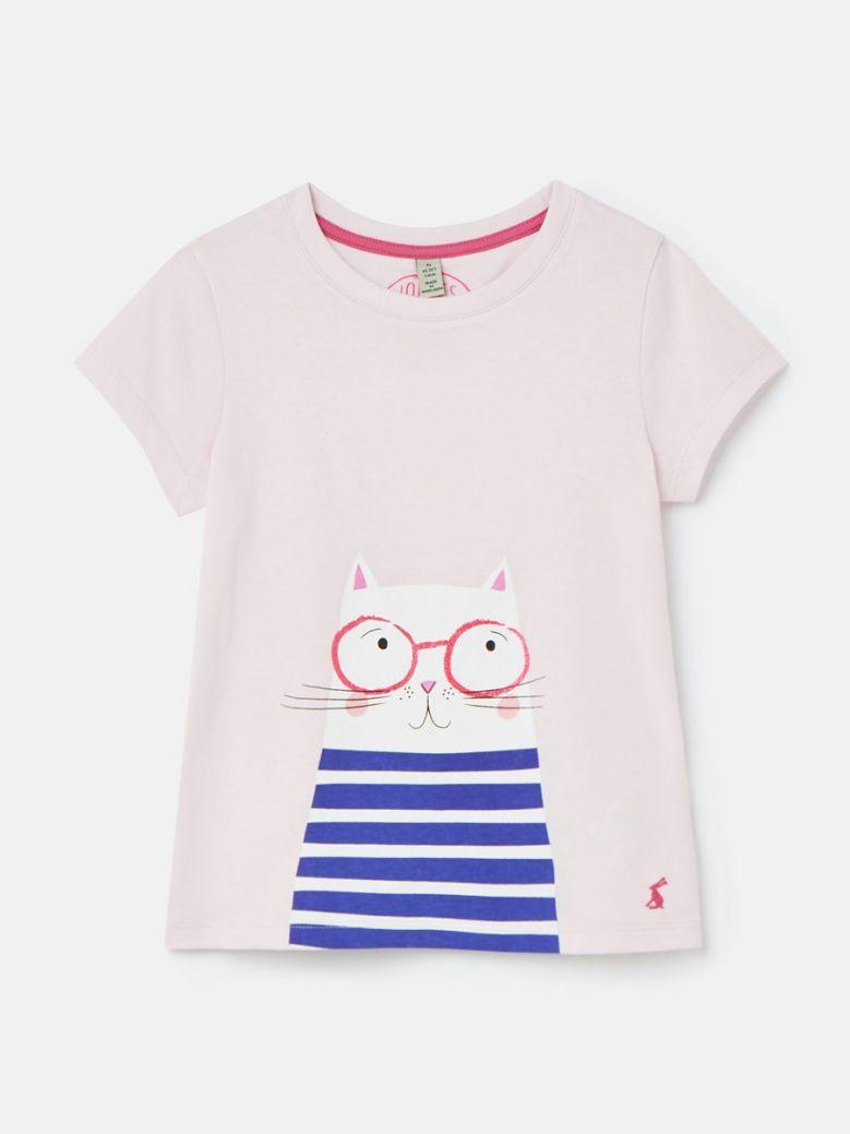 Joules Pink Cat Pixie Screenprint Top
