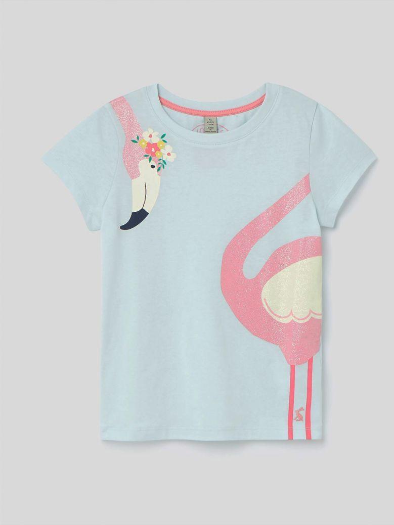 Joules Blue Flamingo Pixie Screenprint Top