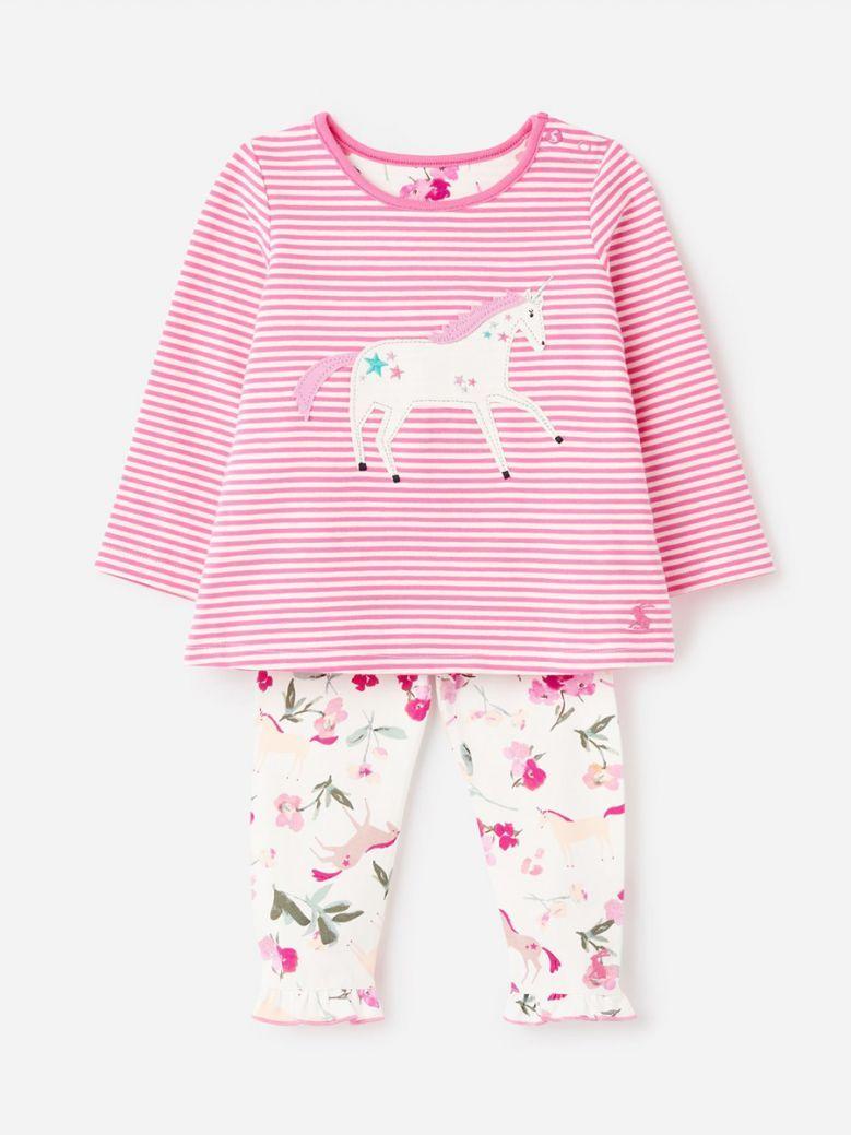 Joules Pink Unicorn Poppy Applique Set