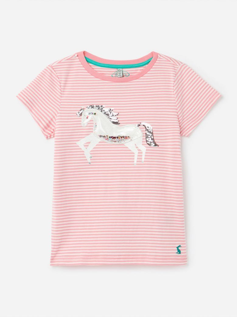 Joules Pink Unicorn Paige Squishy Artwork Top