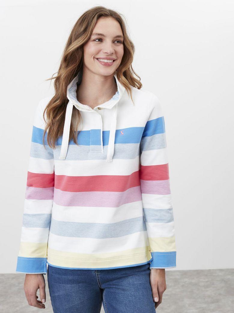 Joules Multi Stripe Saunton Funnel Neck Sweatshirt