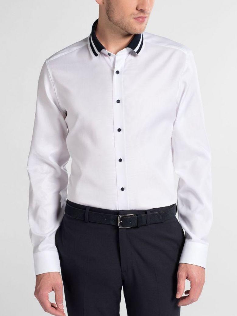 Eterna White Slim Fit Non-Iron Polo Collar Shirt