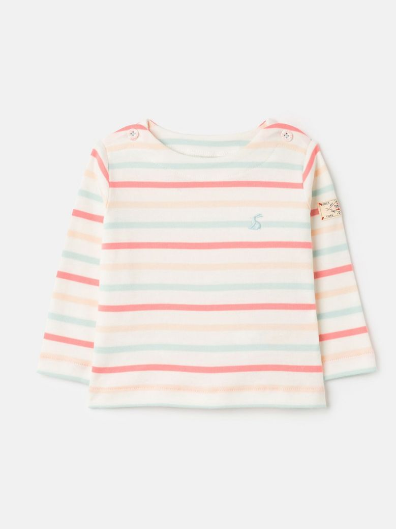 Joules White Pink Stripe Harbour Long Sleeve Jersey Top