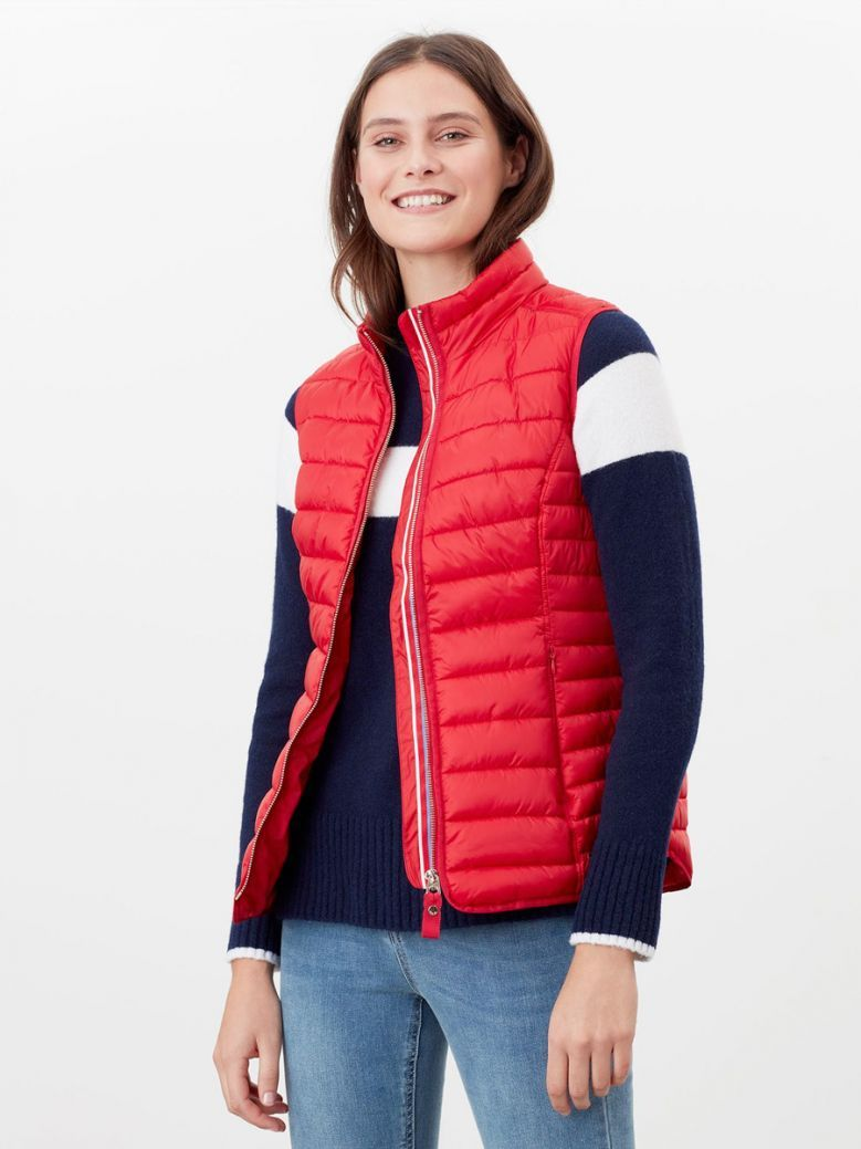 Joules Red Furlton Padded Gilet with Recycled Wadding