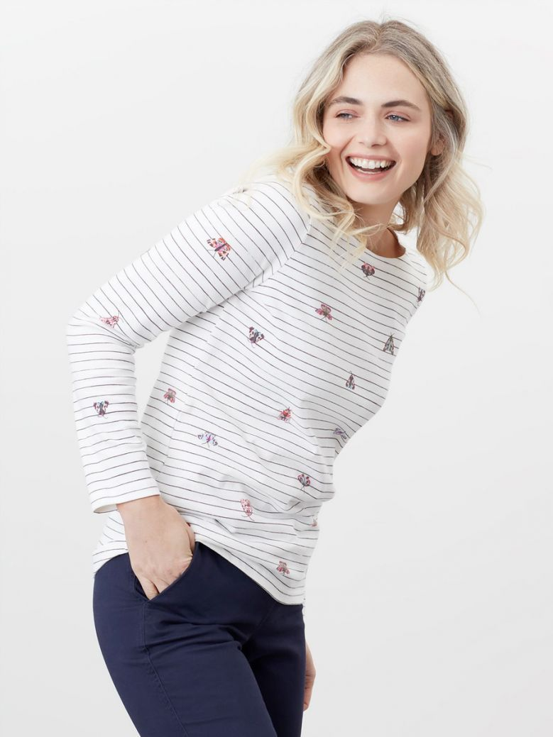 Joules Cream Butterfly Stripe Harbour Print Long Sleeve Jersey Top