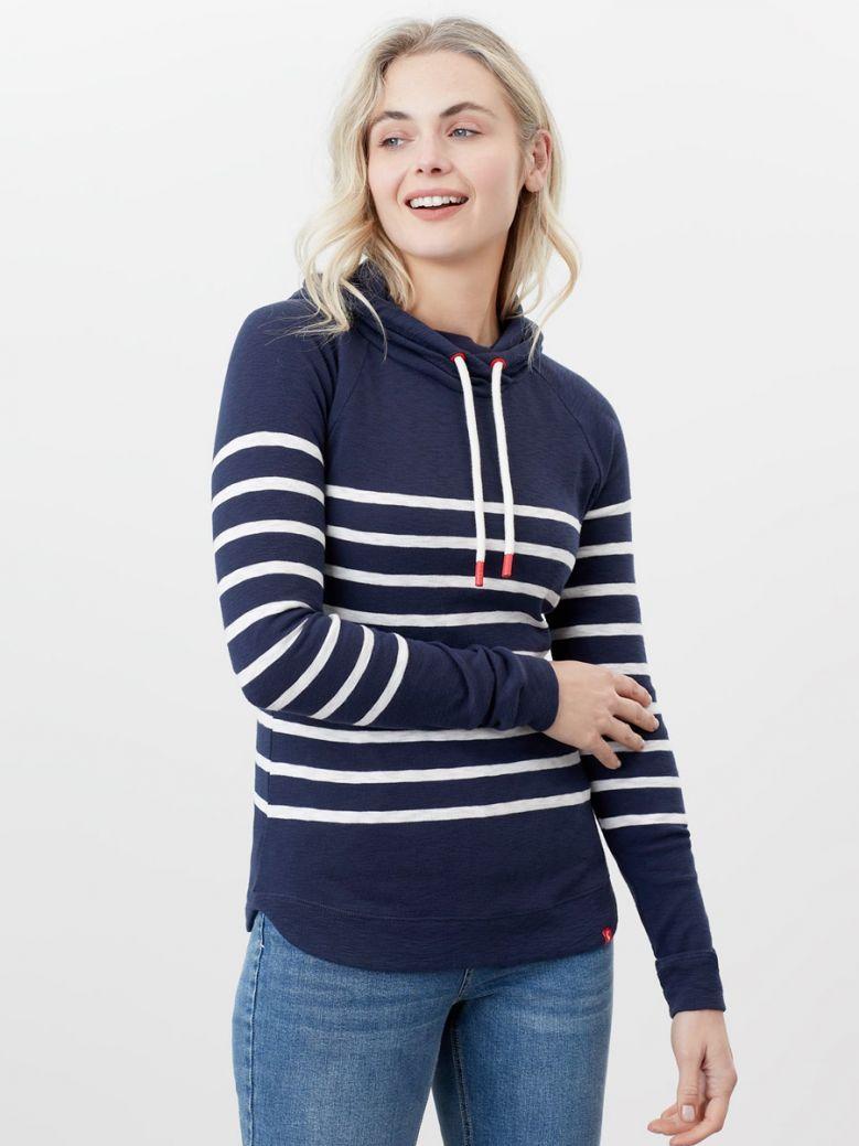 Joules Ladies French Navy Cream Marlston Stripe Hooded Sweatshirt