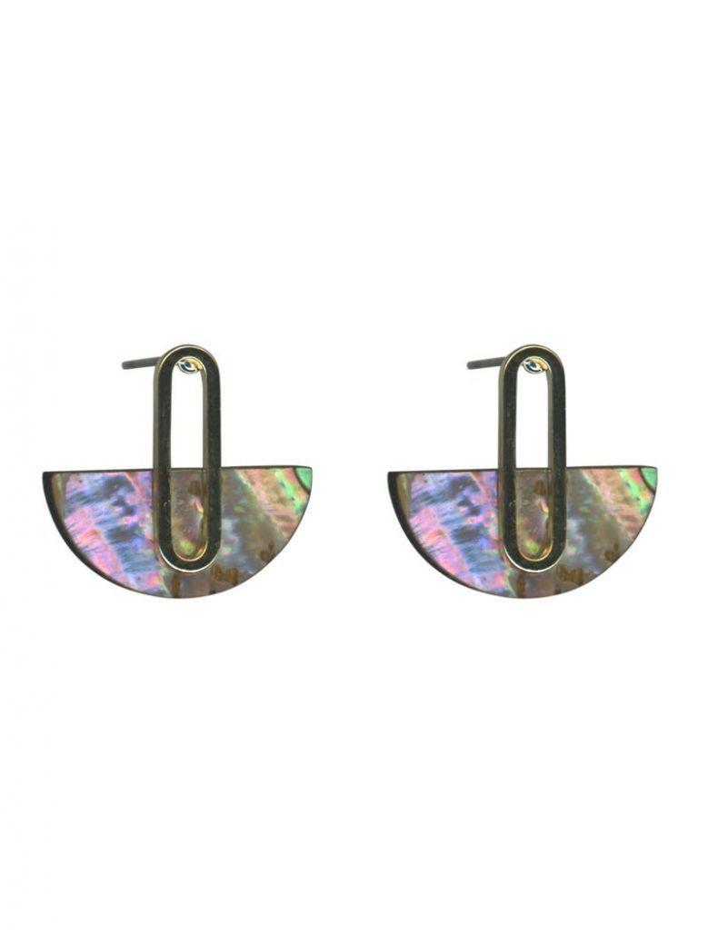 Big Metal London Irridescent Cressida Shell Half Disc Earrings