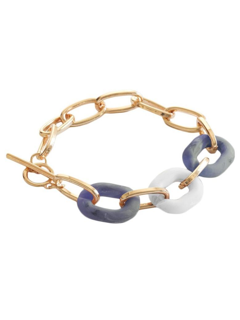 Big Metal London Petra Blue Matte Resin Chain Bracelet