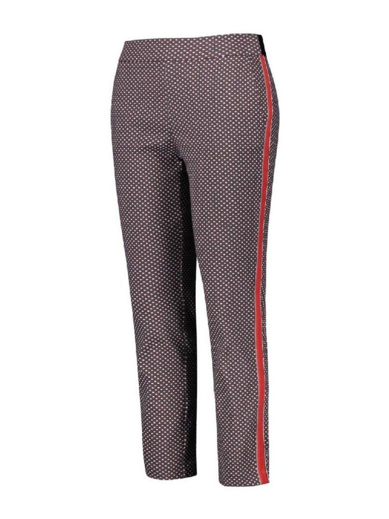 Samoon Grey & Red Patterned Trousers