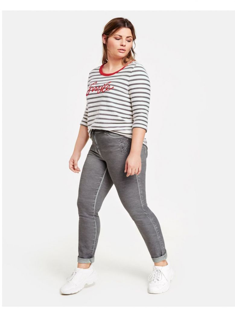 Samoon Grey Cold Dyed Skinny Trousers