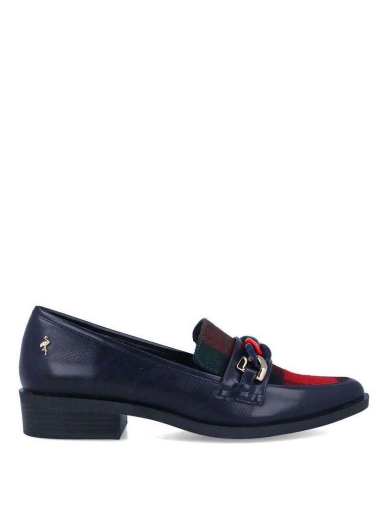 Menbur Navy Tartan Detail Loafers