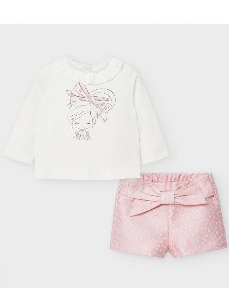 Mayoral Cream & Pink Top & Polka Dot Shorts