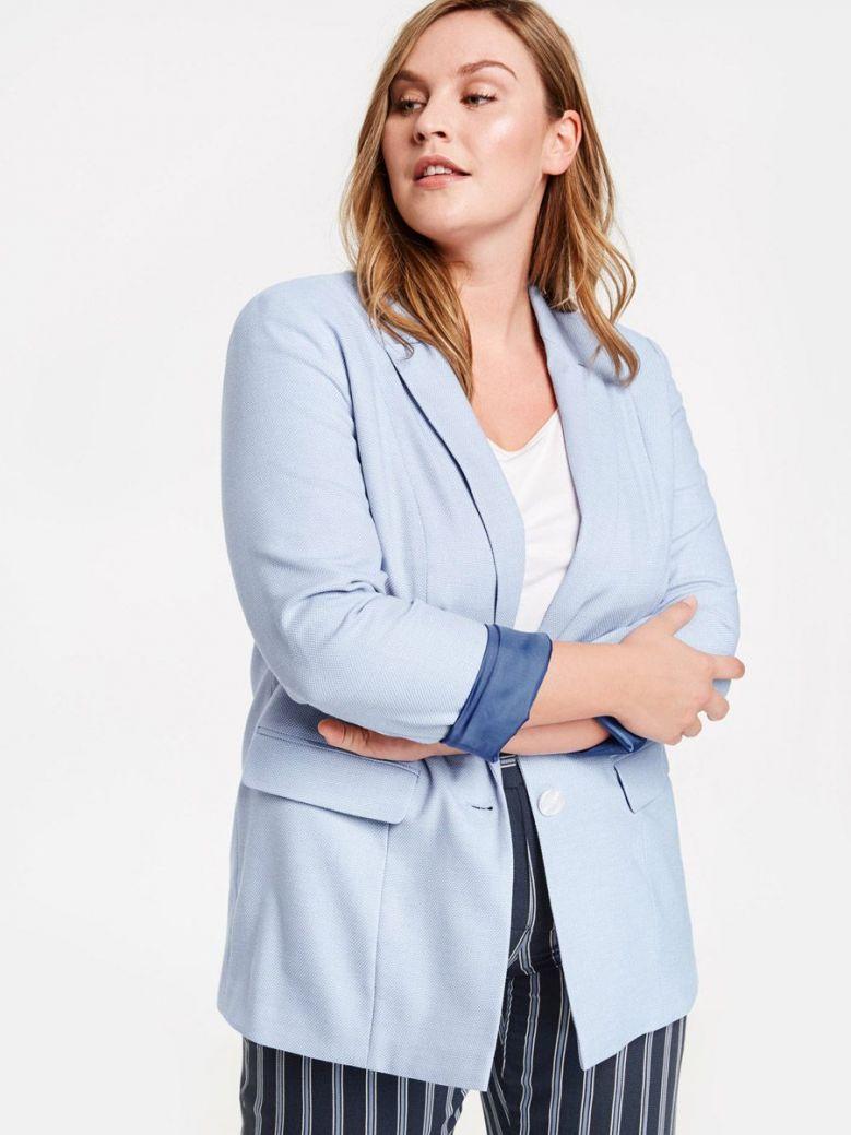 Samoon Blue Patterned Single Breasted Blazer