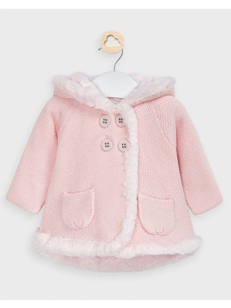 Mayoral Pink Fur Trim Cardigan